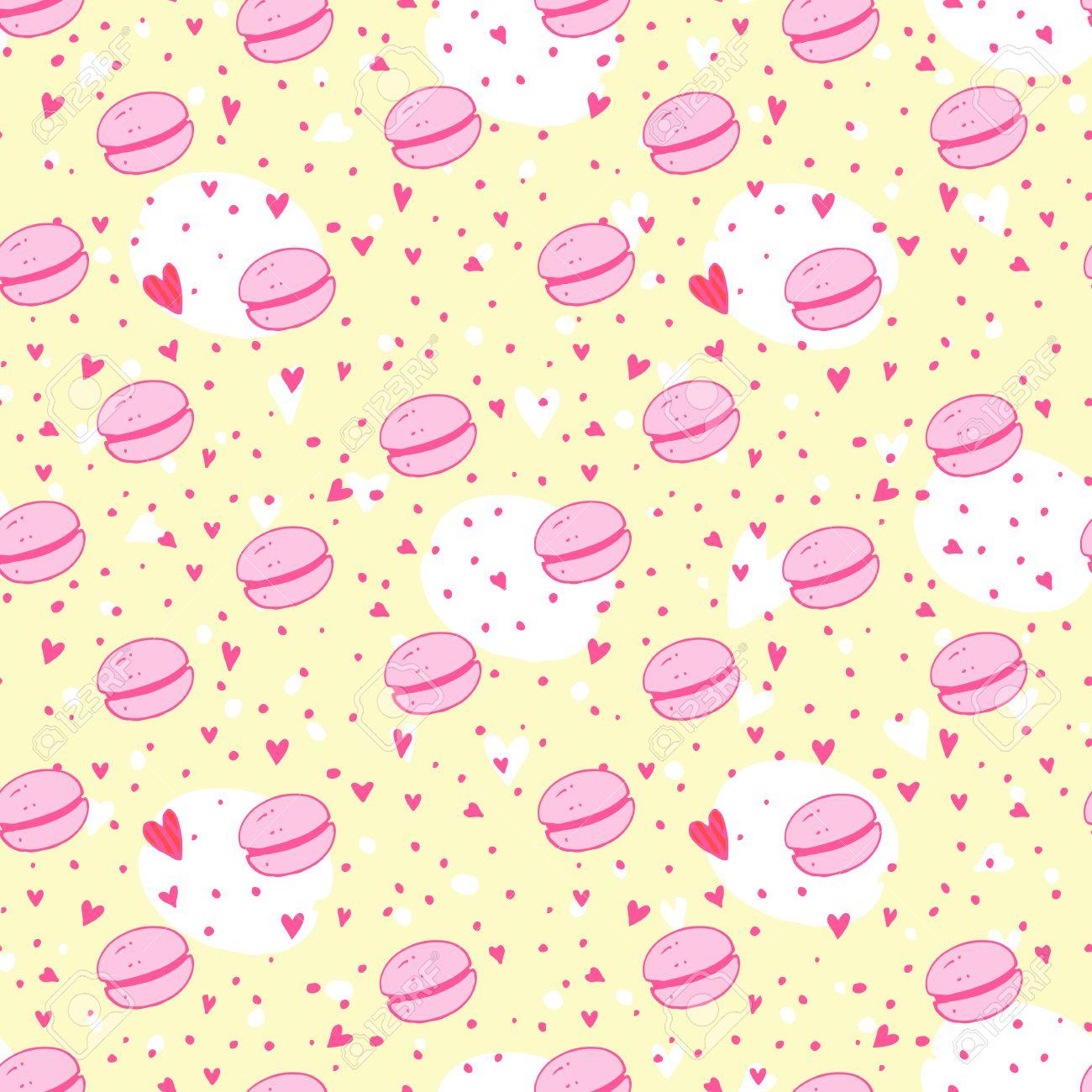 マカロン ピンク色とパターン 明るく おいしいイラスト 包装 織物