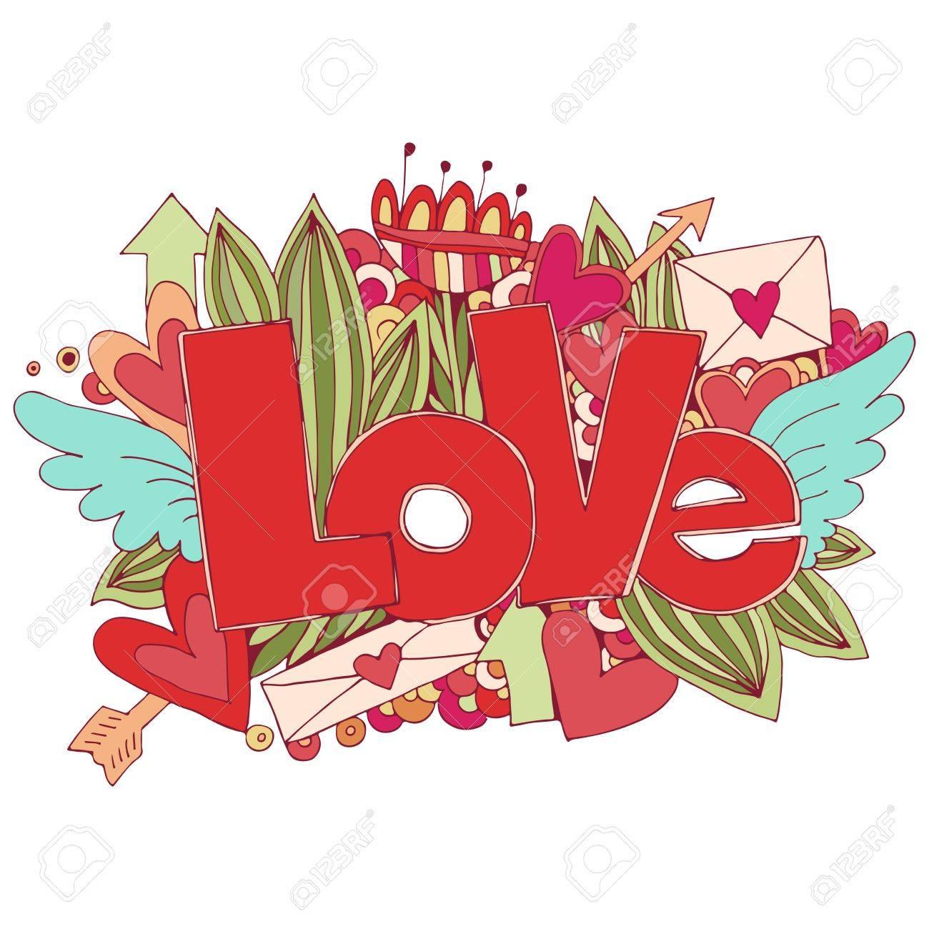 Amor Mano Letras Y Garabatos Elementos De Fondo Boceto Colores