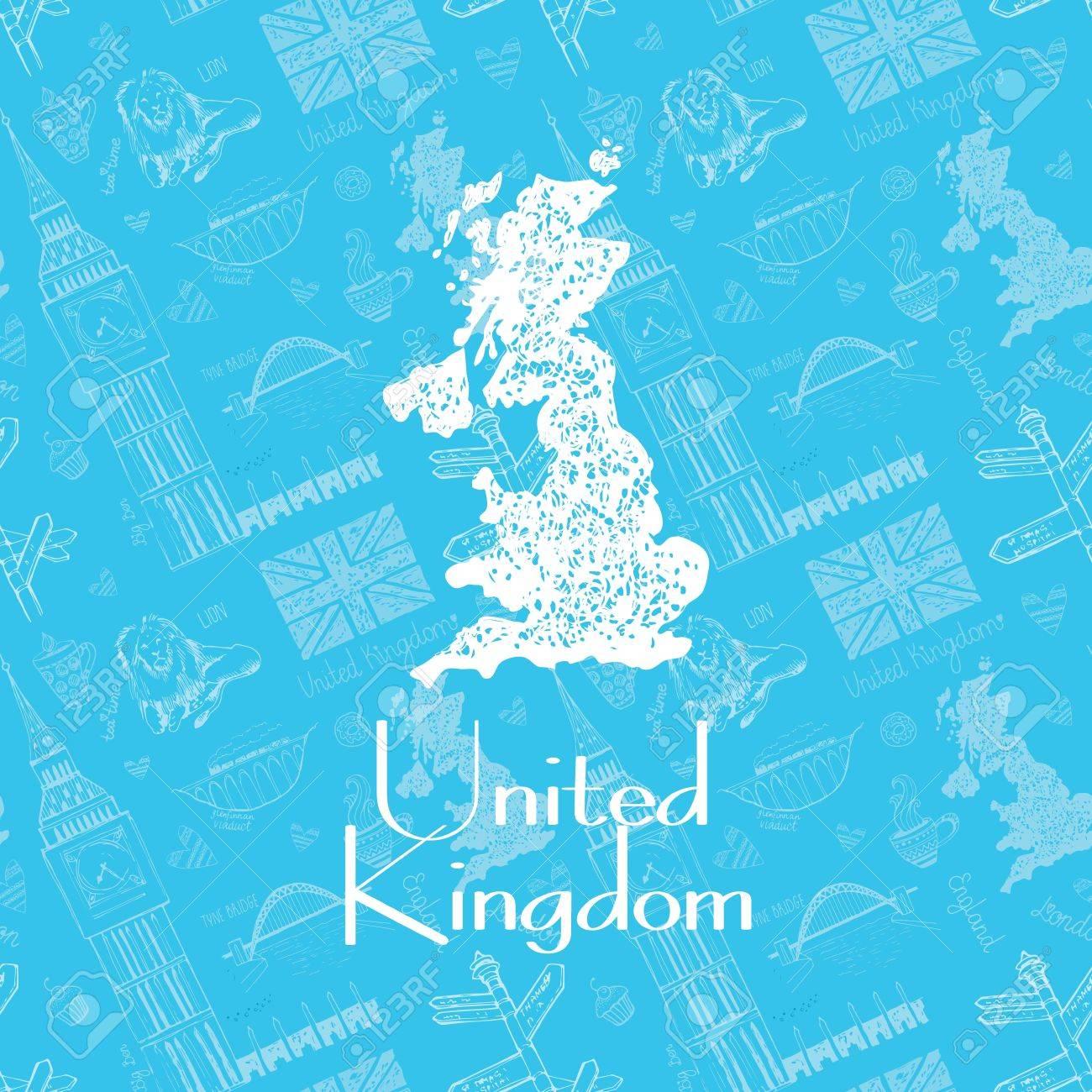 英国の美しい 手描きの地図 背景色が水色に英国の領土のベクトル