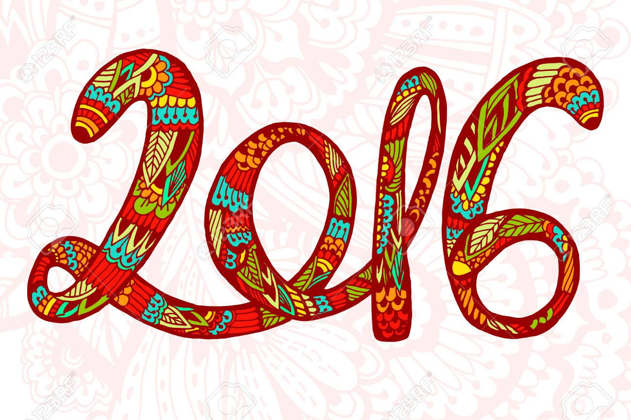 Chinese New Year Beautiful Hand Drawn Figures Symbol 2016 With