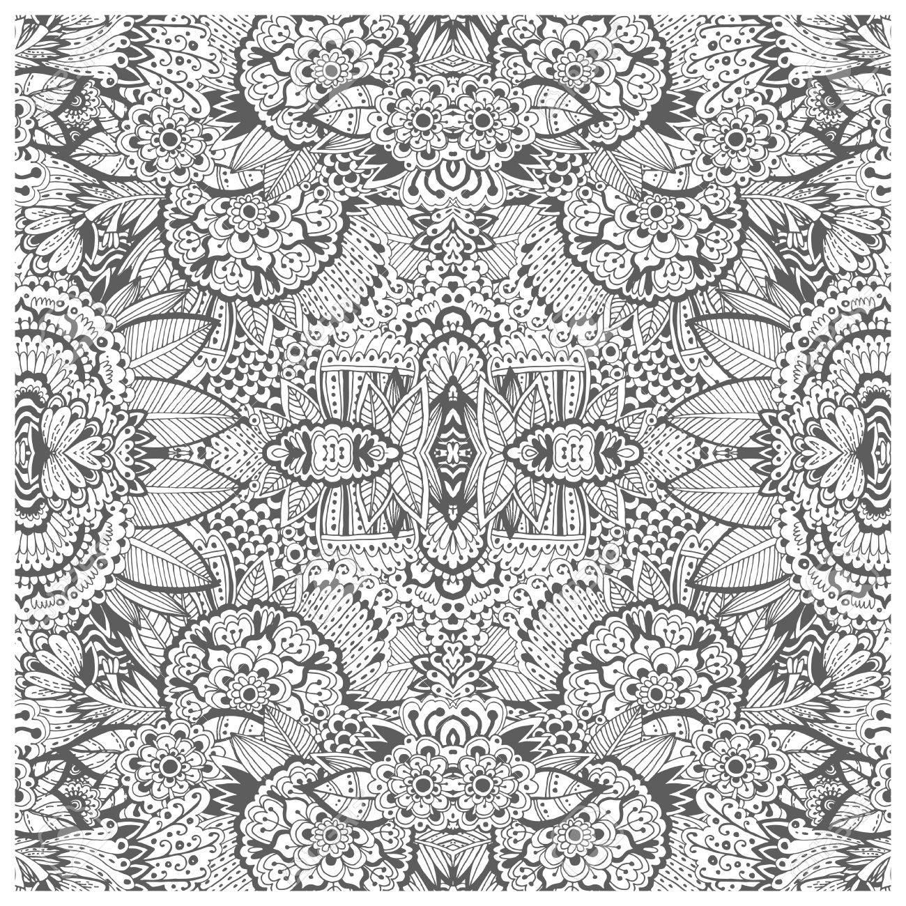 Unique Coloring Book Page For Adults - Floral Authentic Carpet ...