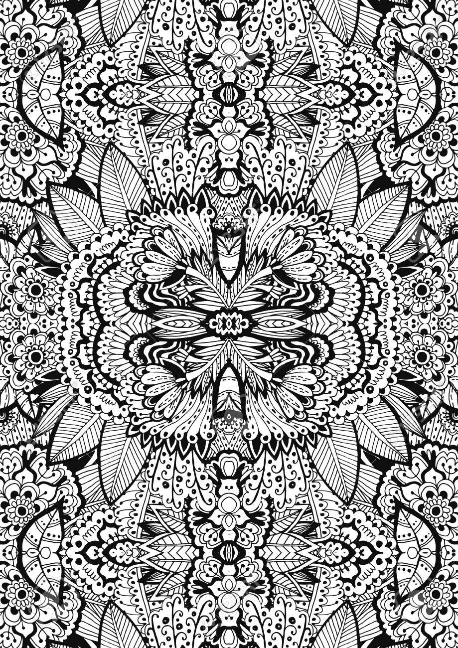 Unique Coloring Book Page For Adults A4 - Floral Authentic Carpet ...