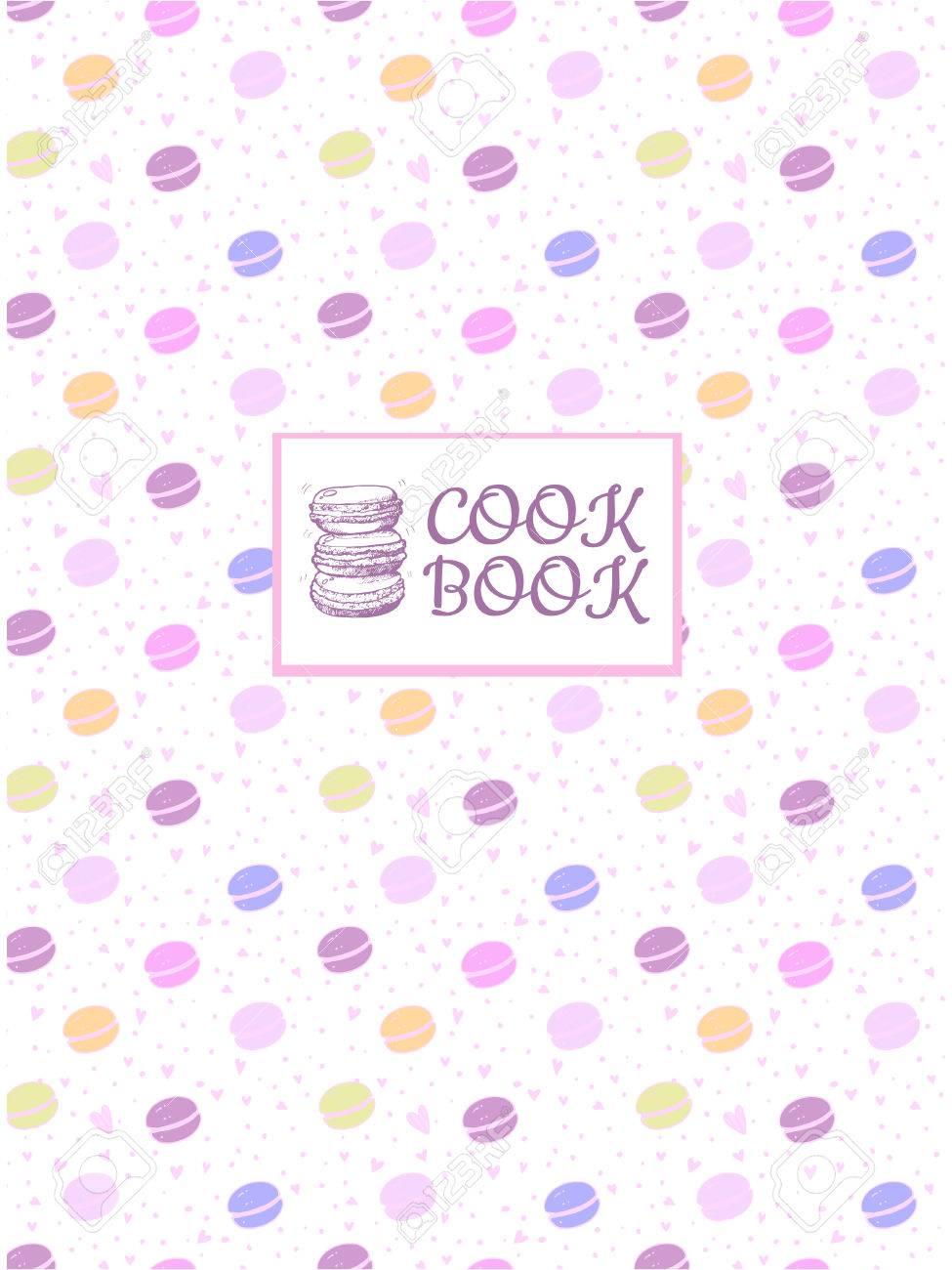 料理の本のための美しいデザイン。区切り記号またはペーストのレシピ本。料理のページです。繊細な色のマカロンがいくつか。レシピ表紙、カード