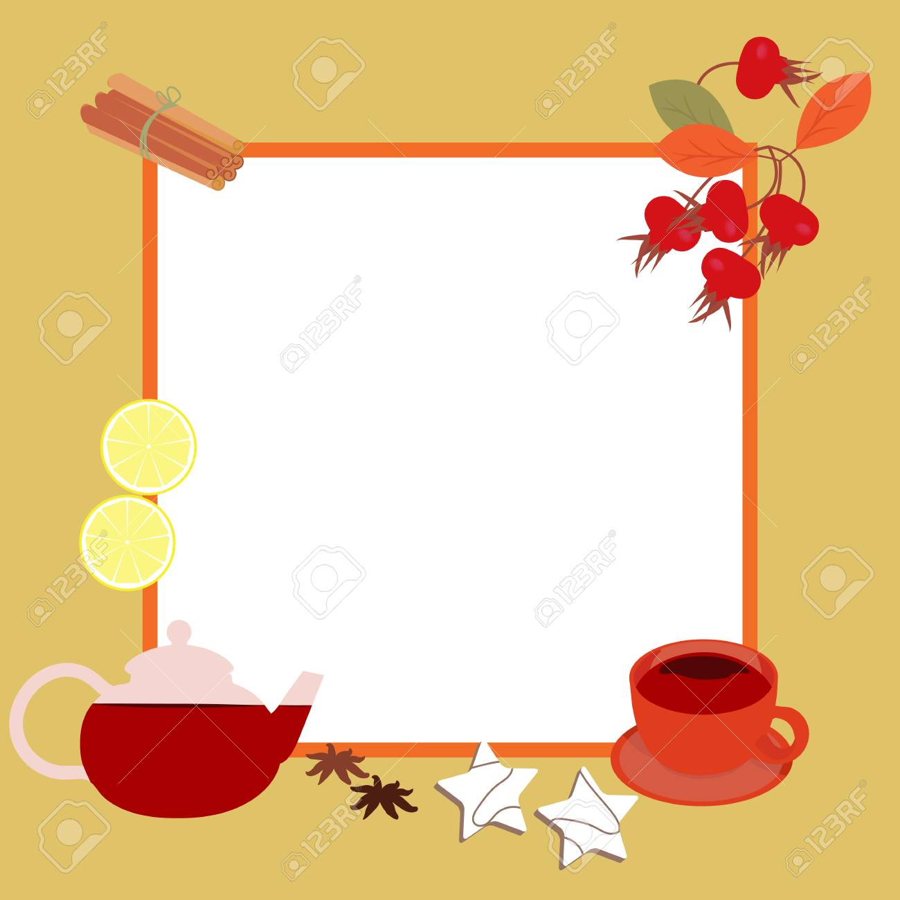 Vector Illustration Of A Frame. A Cup Of Tea, A Teapot, Cookies ...