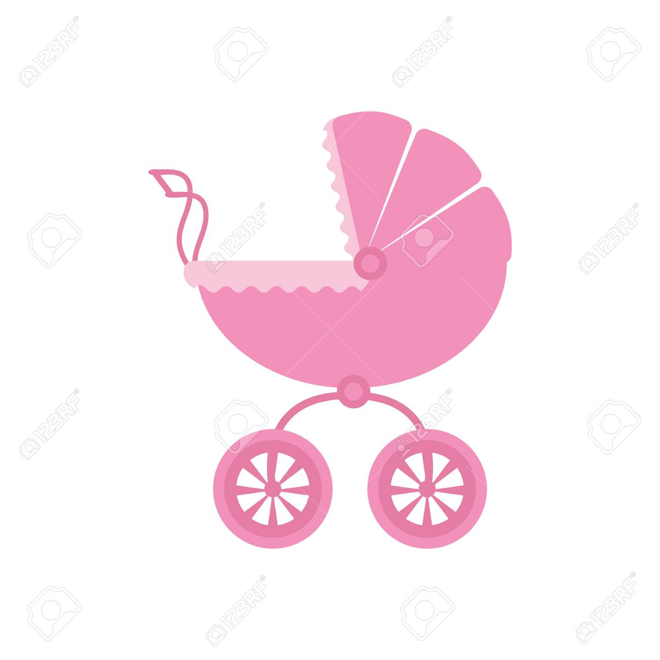 Vector Illustration Of A Baby Stroller For A Girl On A White ...