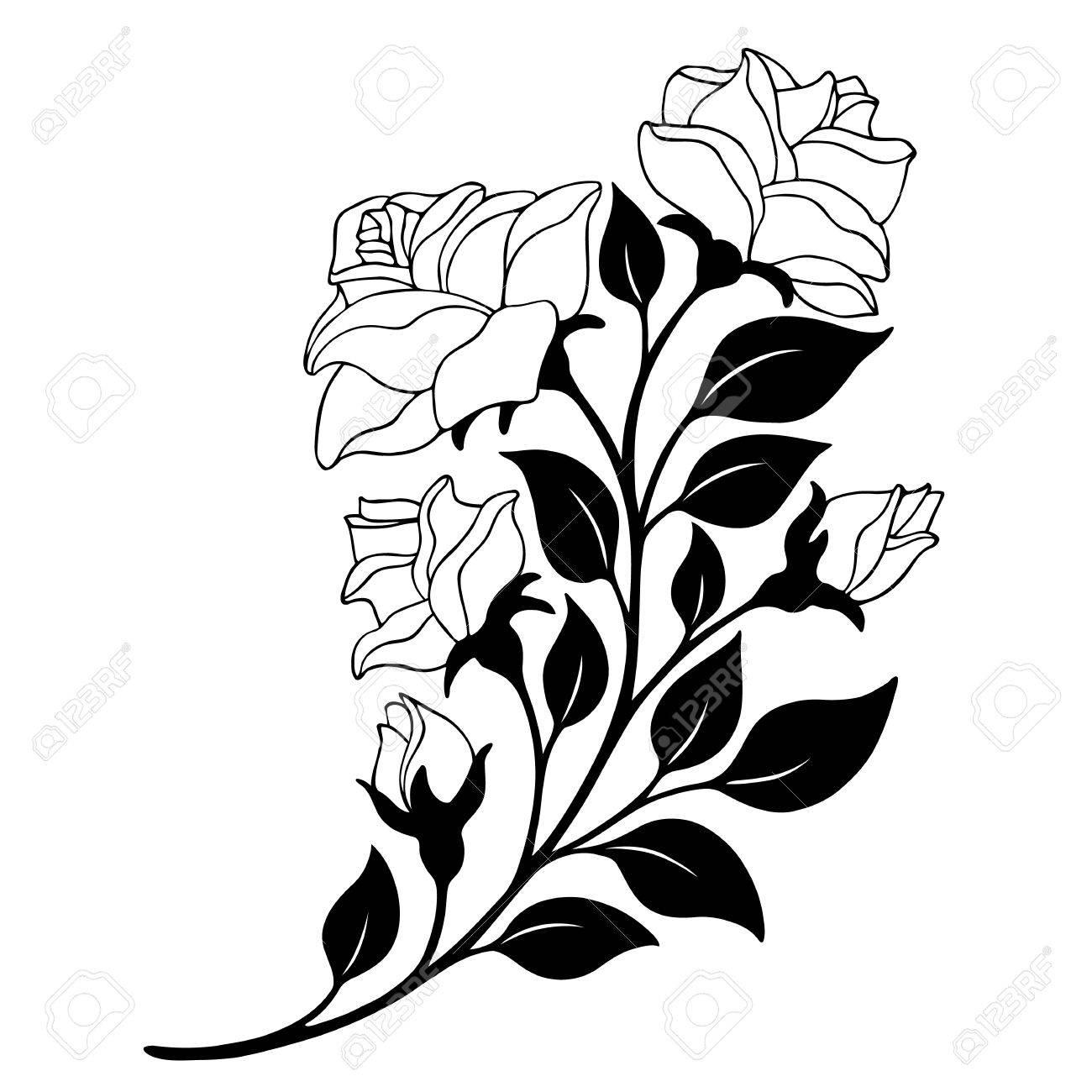 El Elemento De Decoración Rama Rosa Blanco Y Negro Con Flores