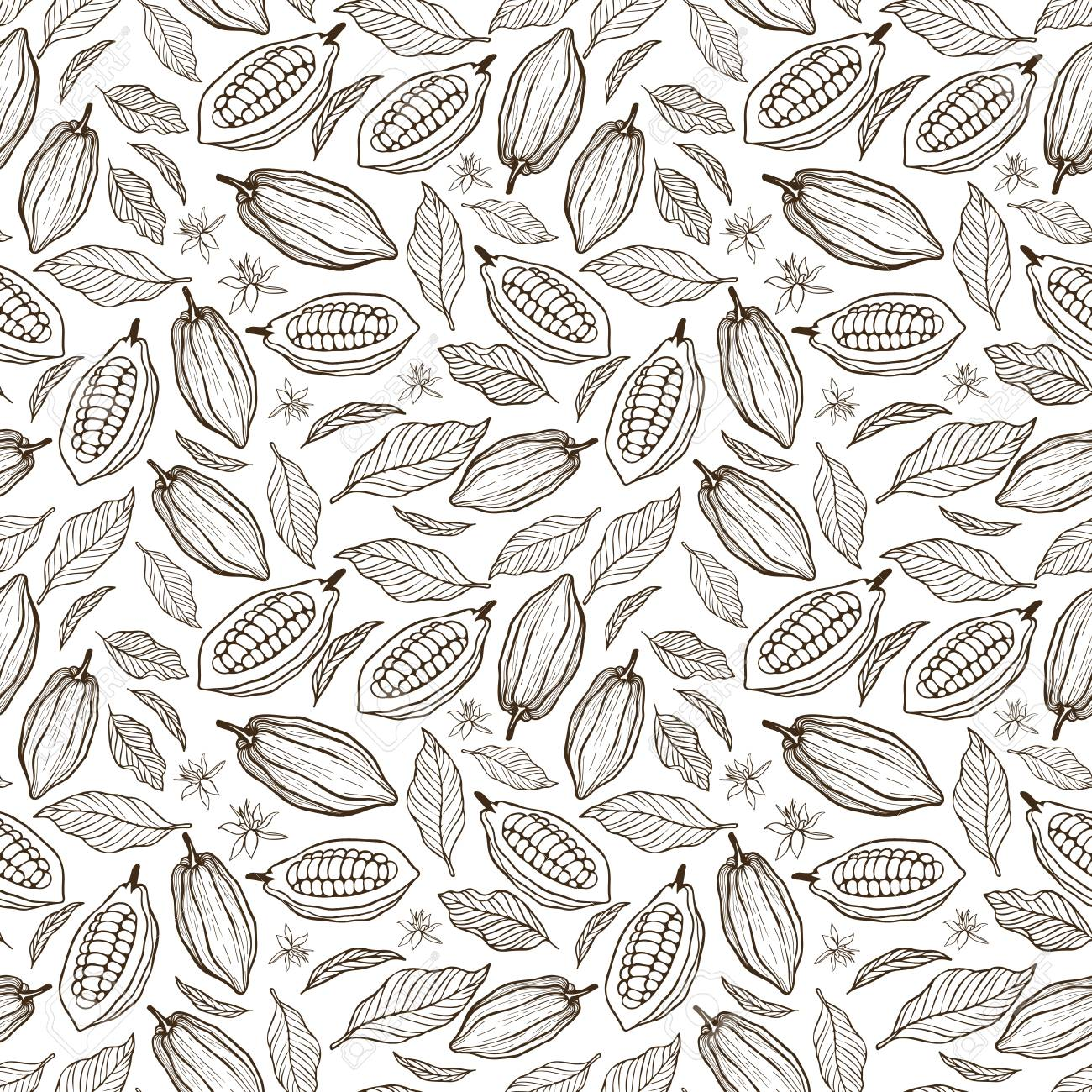 Cacao beans seamless pattern. - 94644842