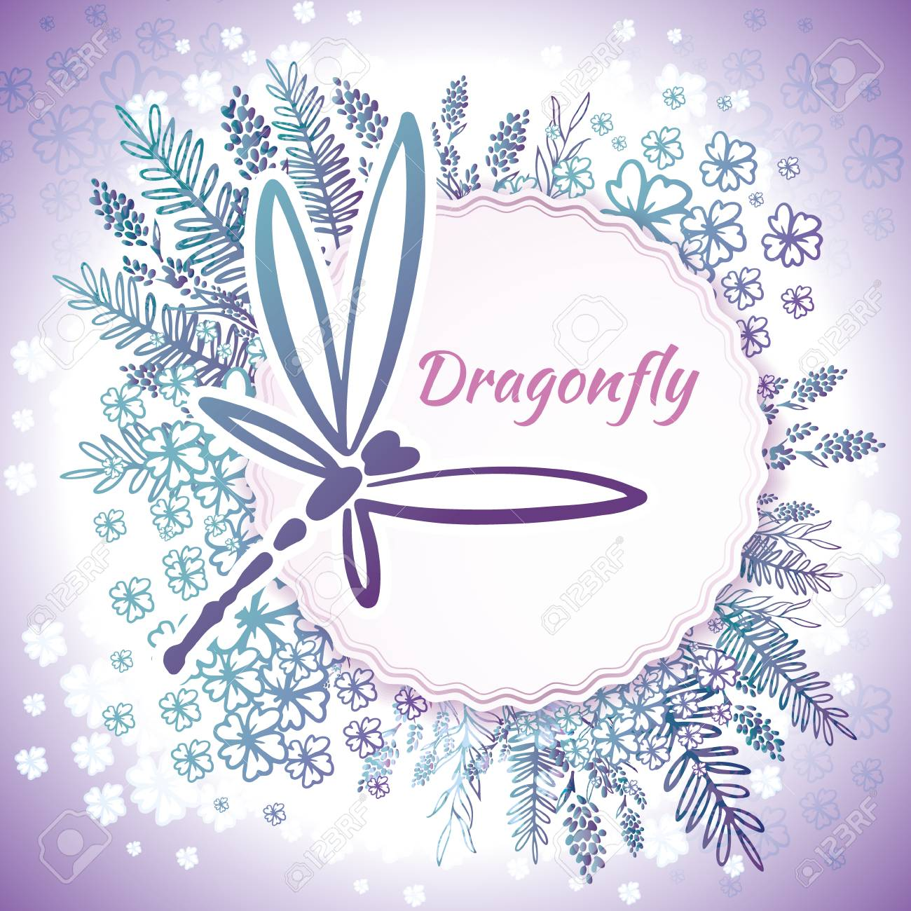 Vector botanical banners with dragonfly and flowers. Floral design for natural cosmetics, perfume, women products. Can be used as a greeting card, wedding invitation, spring background - 126378223
