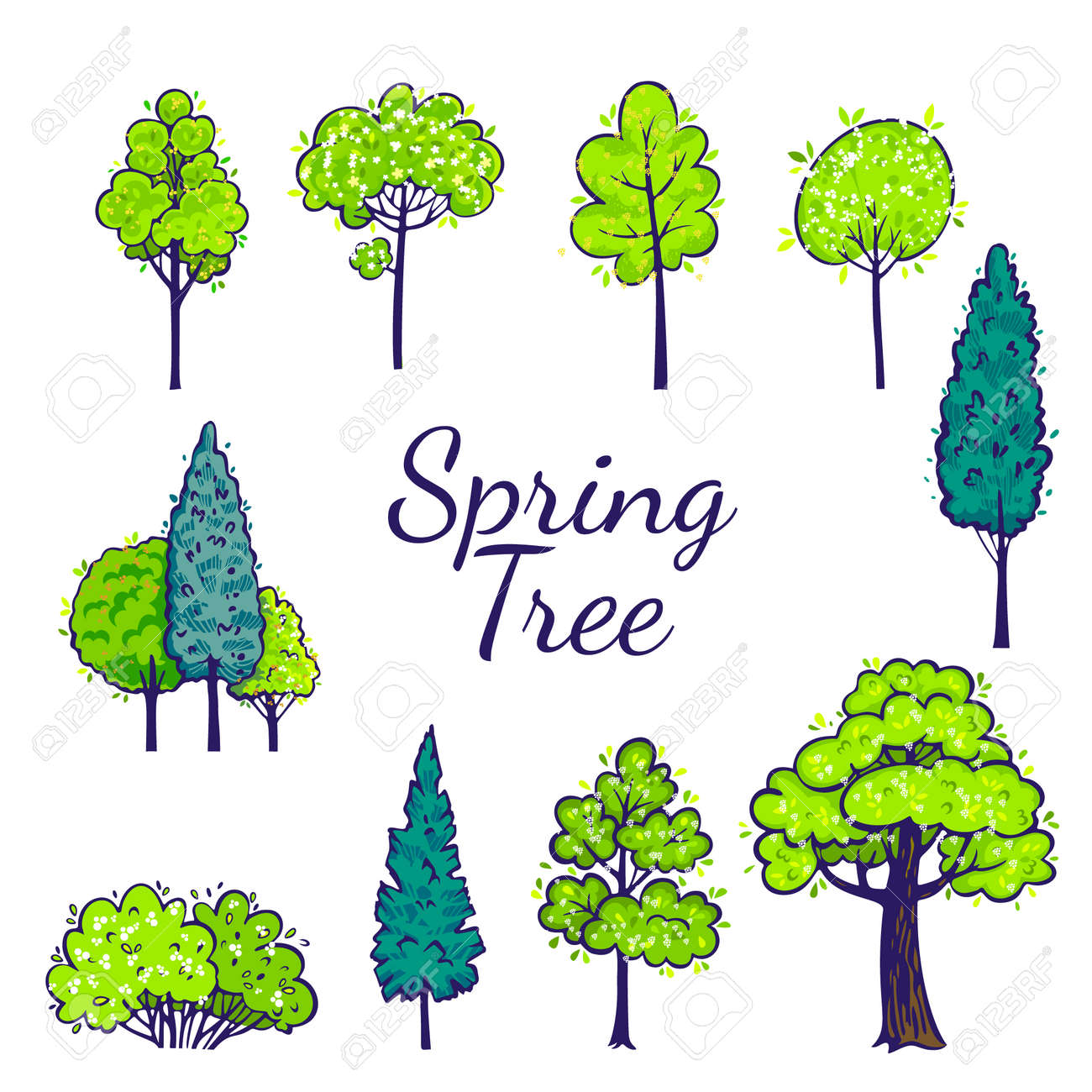 Spring tree set. Vector tree collection. - 124250485