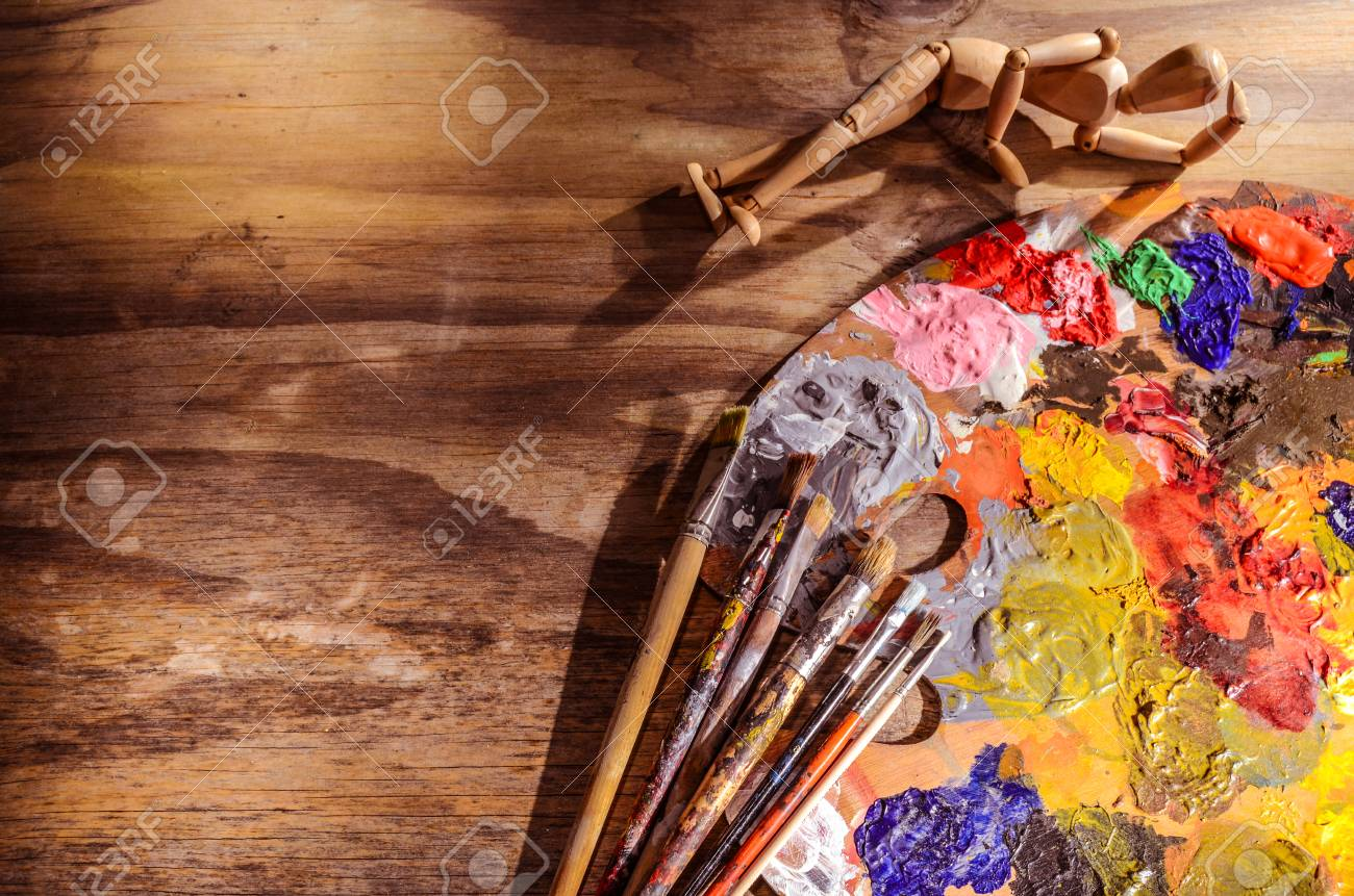 Color Mixing Palette With Brushes And Mannequin