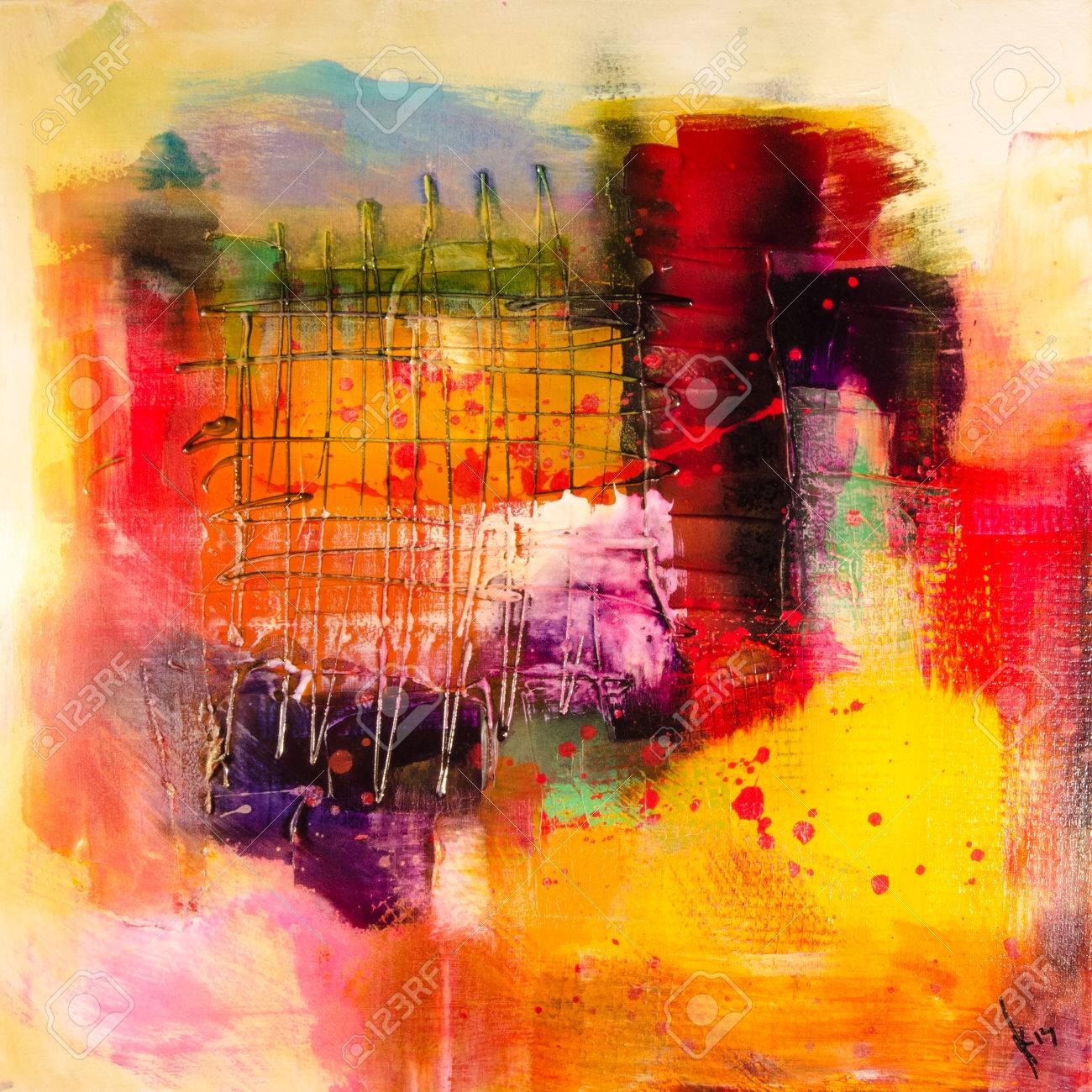 Modern Abstrakt Painting Fine Art Artprint Stock Photo, Picture And ...