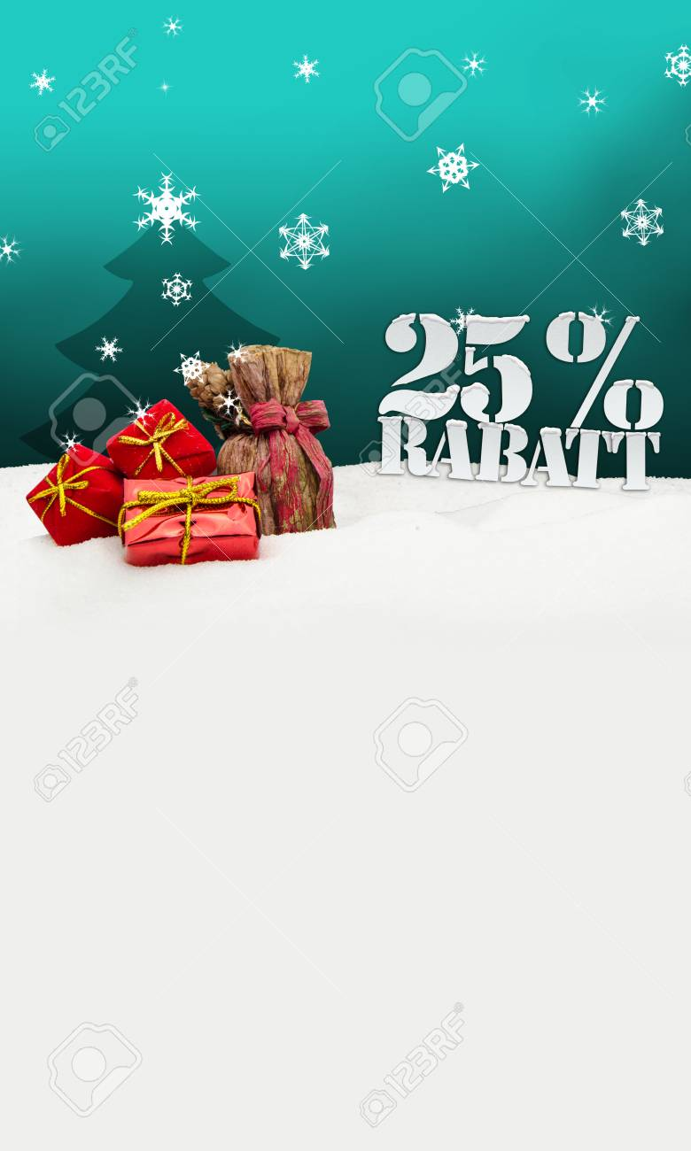 Weihnachtsgeschenke 25 Prozent Rabatt Discount Türkis Lizenzfreie ...