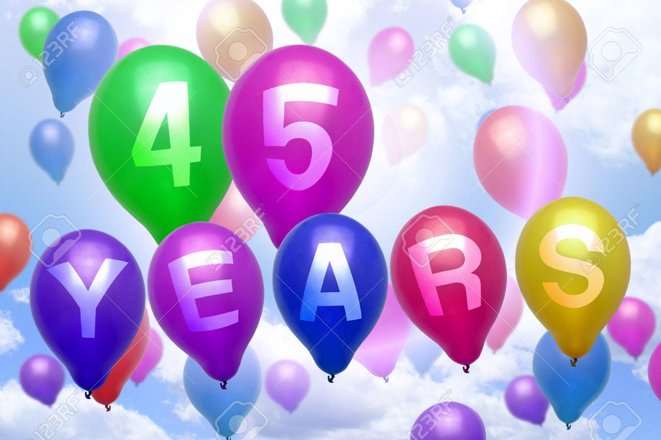 45 Years Happy Birthday Balloon Colorful Balloons Party Stock Photo