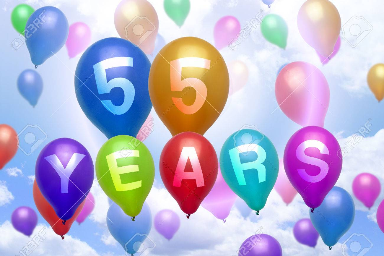 55 Years Happy Birthday Balloon Colorful Balloons Party Stock Photo