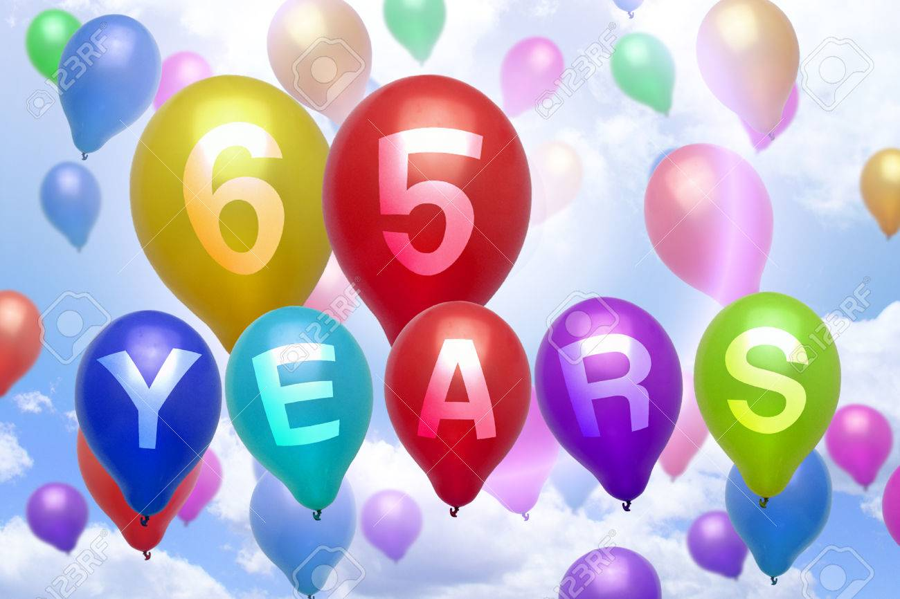 65 Years Happy Birthday Balloon Colorful Balloons Party Stock Photo