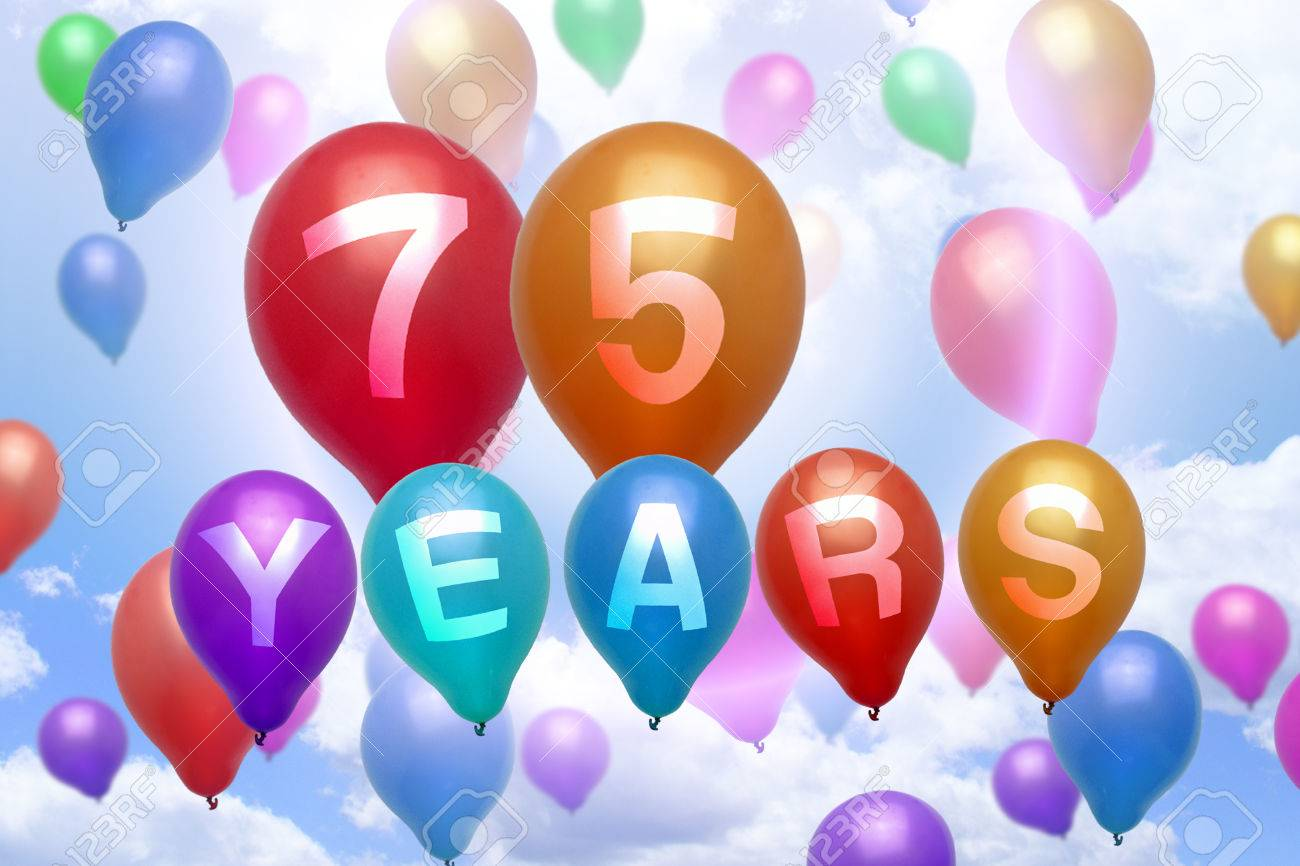 75 Years Happy Birthday Balloon Colorful Balloons Party Stock Photo