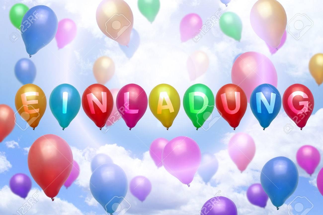 deutsch einladung ballon-bunten luftballons party lizenzfreie, Einladung
