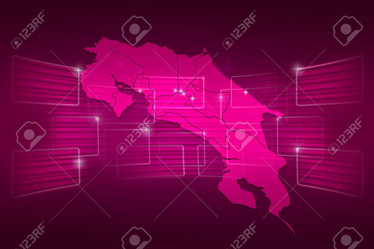 Costa Rica Map World Map News Communication Delivery Pink Stock ...