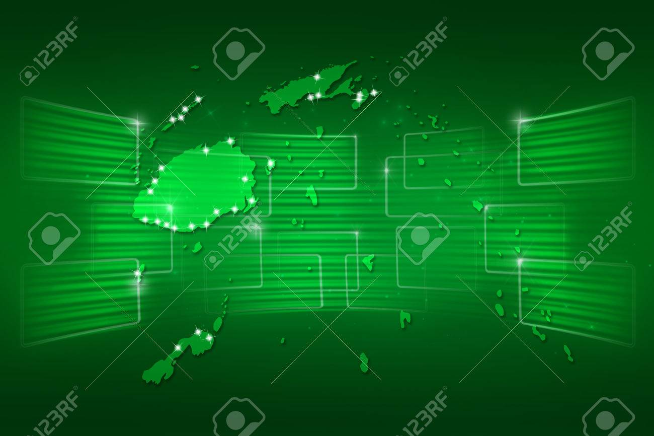 Fiji Islands Map World Map News Communication Delivery Green Stock