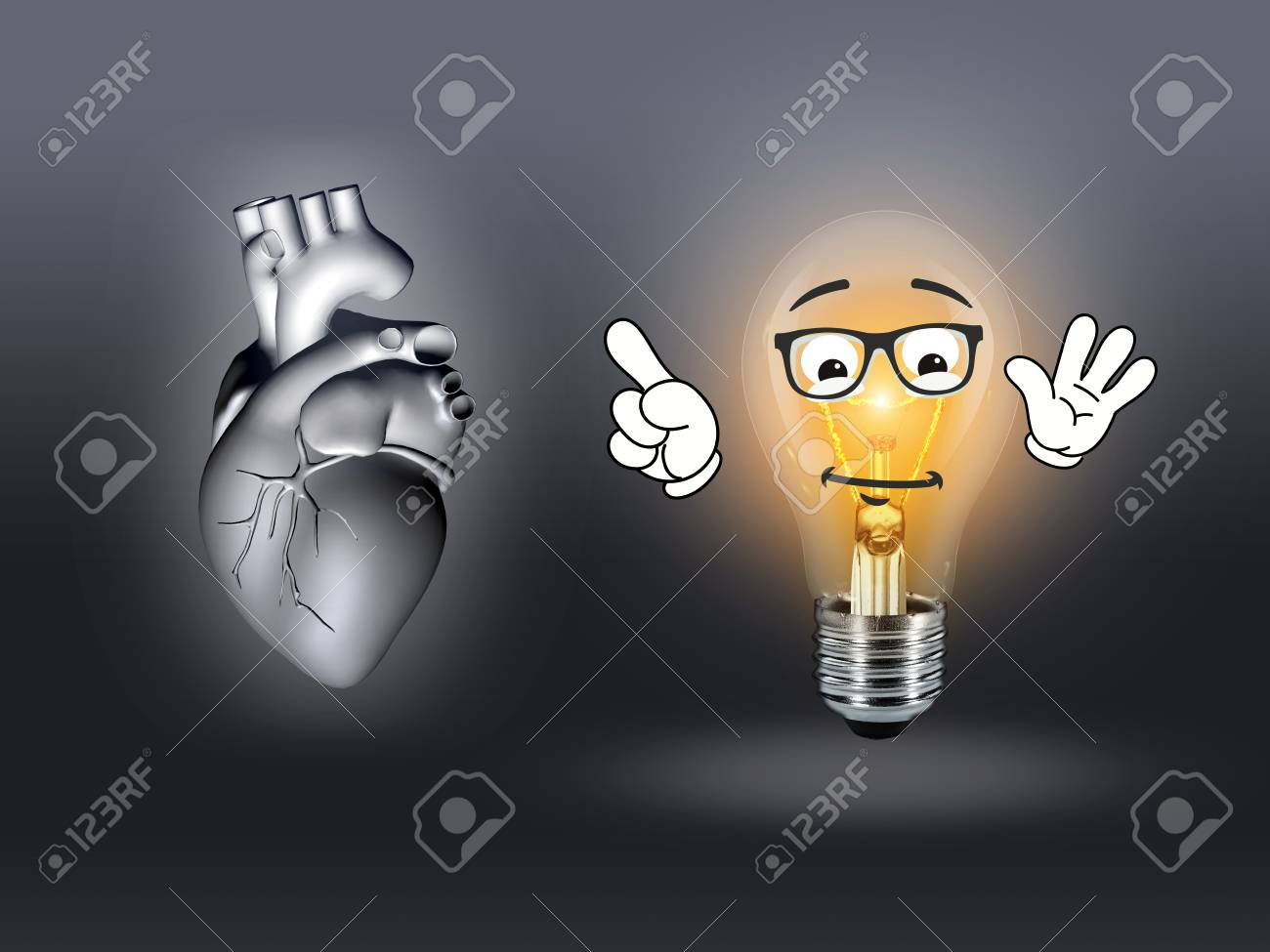 Heart Disease 3d Anatomy Illustration Bulb Gray Stock Photo, Picture ...