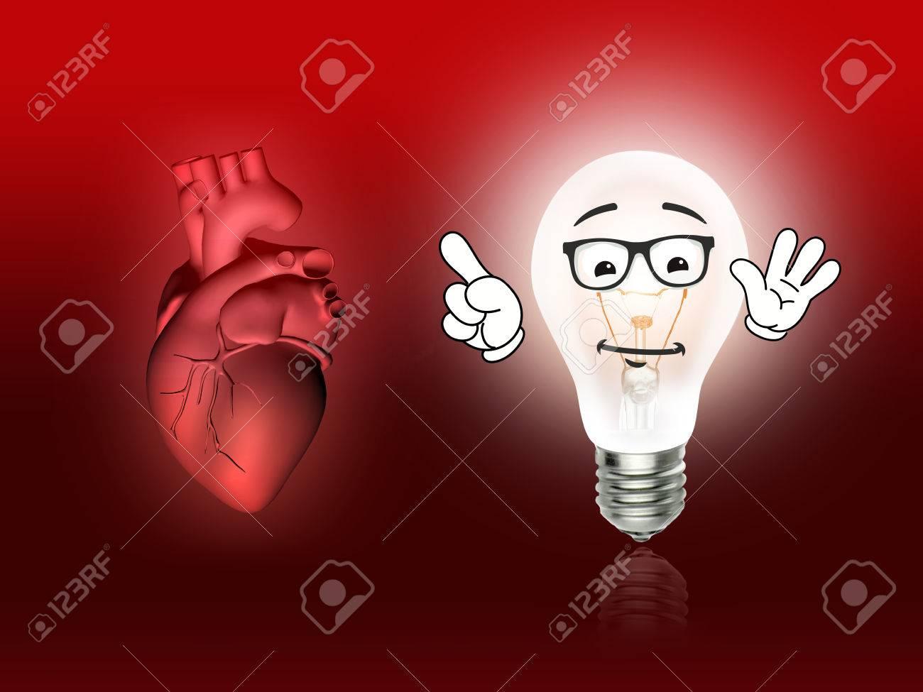 Enfermedades Del Corazón 3d Anatomía Ilustración Bombilla Roja Fotos ...