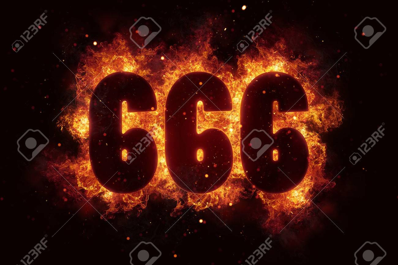 666 fire satanic sign gothic style evil esoteric stock photo