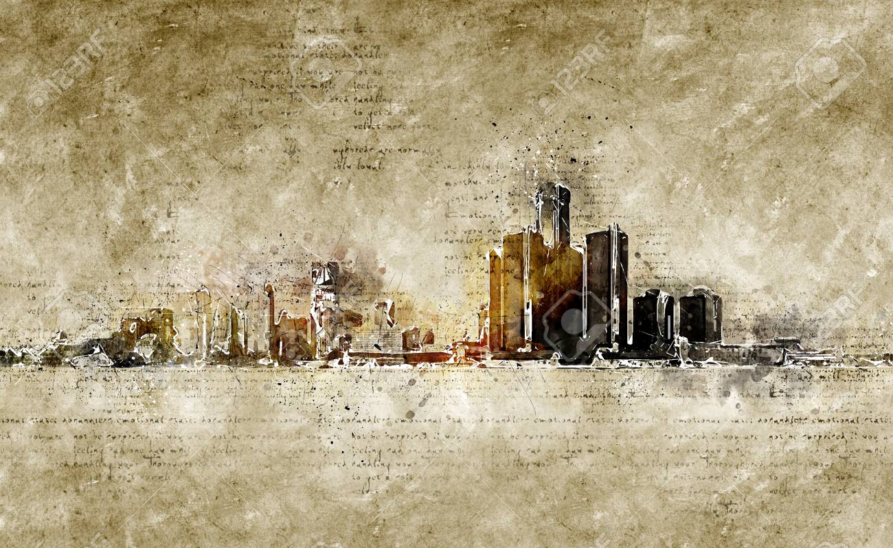 Skyline Of Detroit In Modern And Abstract Vintage Look