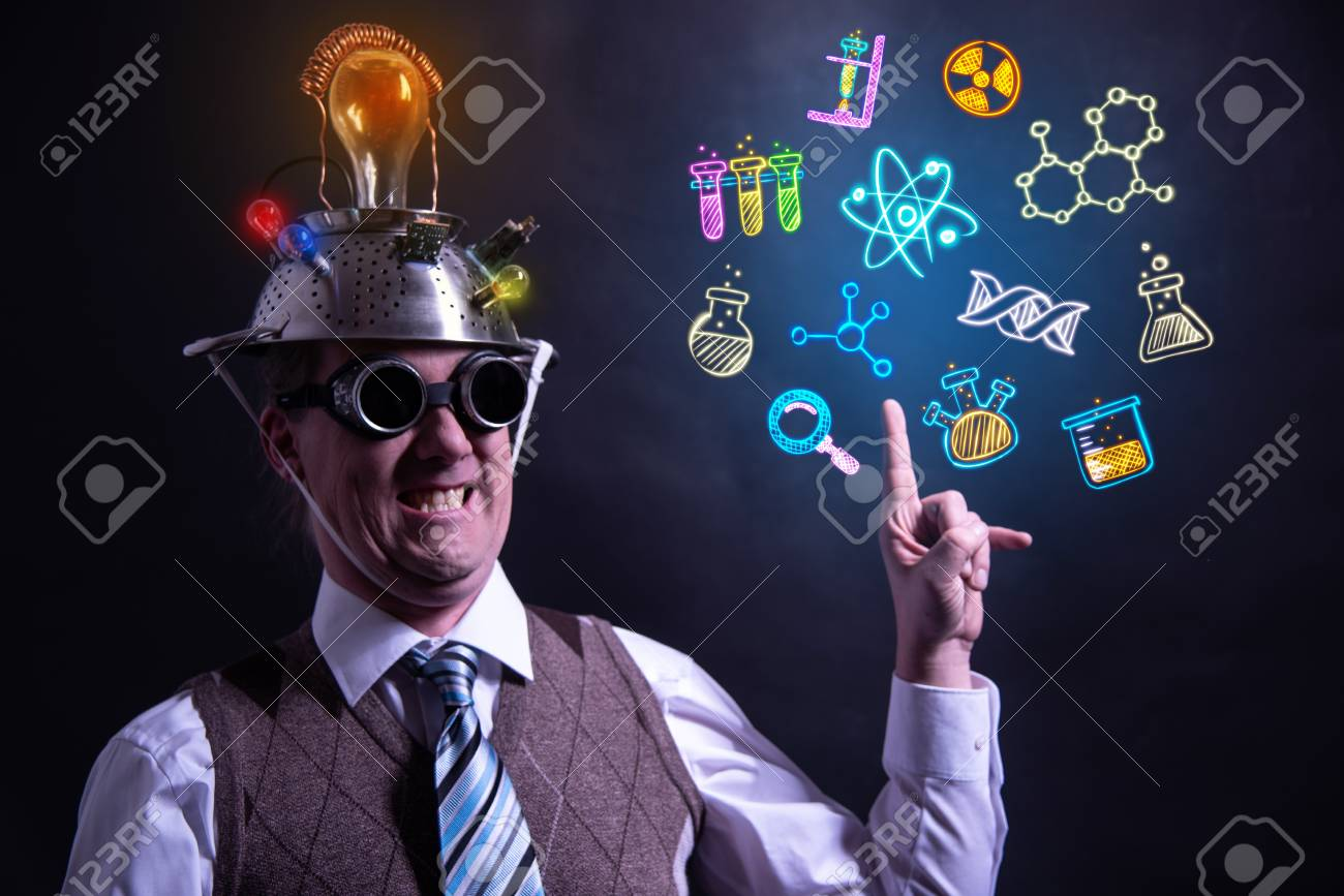 Funny scientist looking to chemistry symbols chemical - 124808712