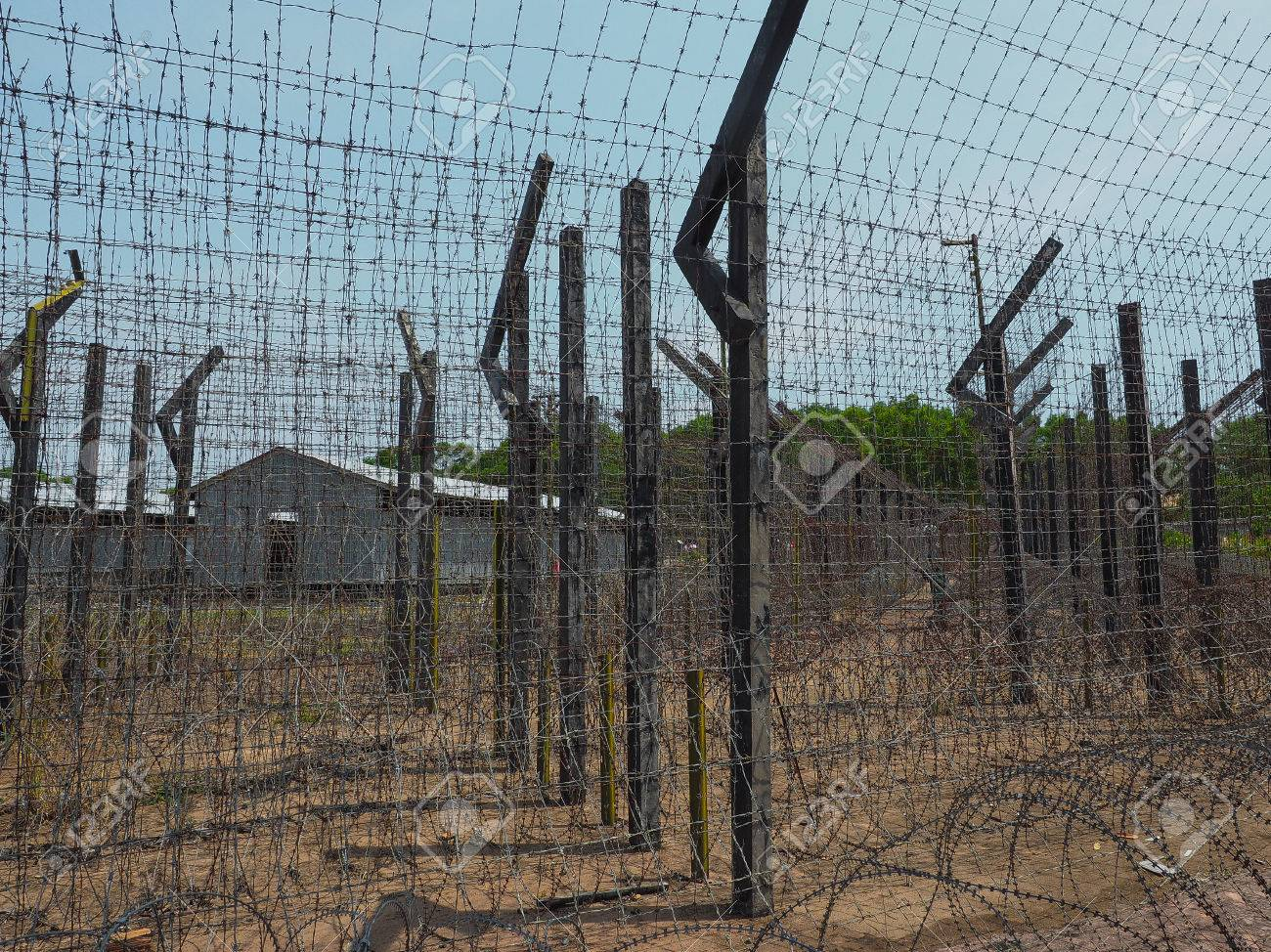 Barb Wire Fence In Coconut Tree Prison In Phu Quoc Island. Vietnam ...