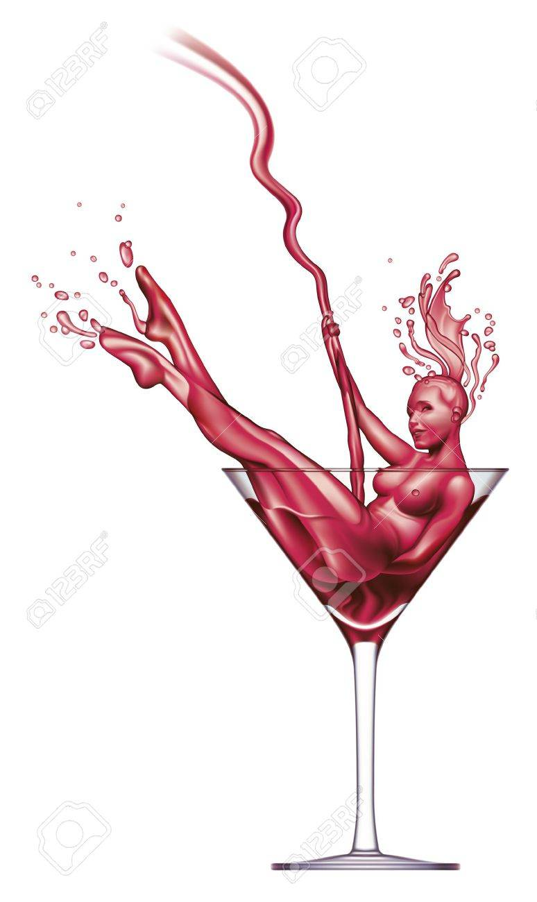 Sexy girl appears from red Martini pouring into a glass. Stock Vector - 9216257