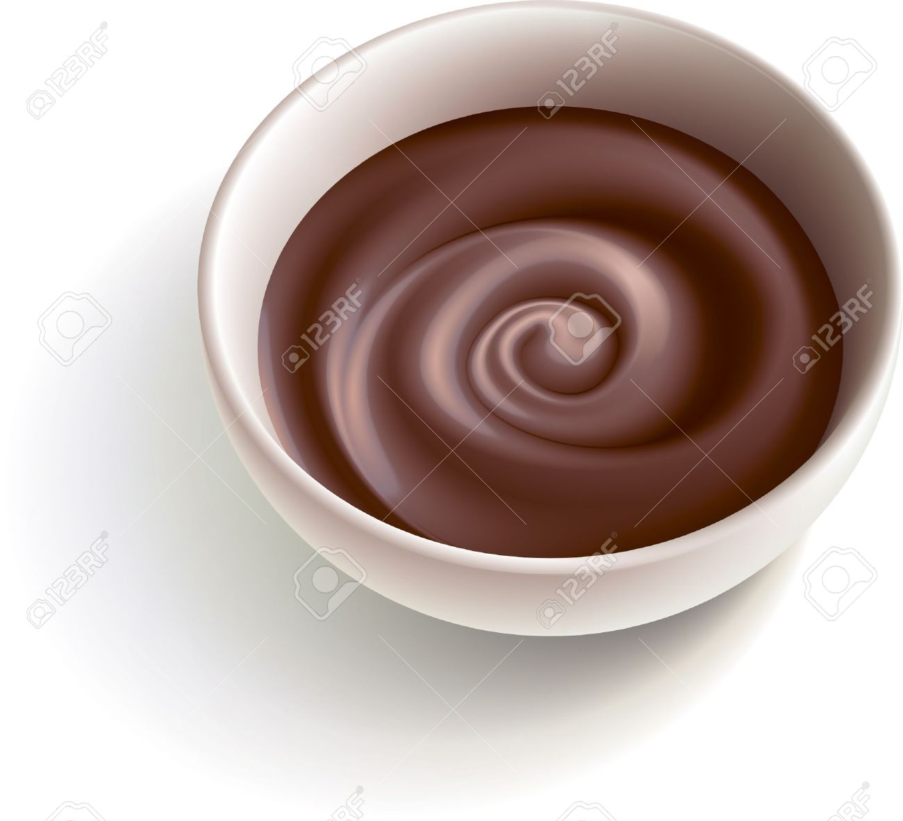 Dark molten chocolate swirling in the white cup Stock Vector - 9216250