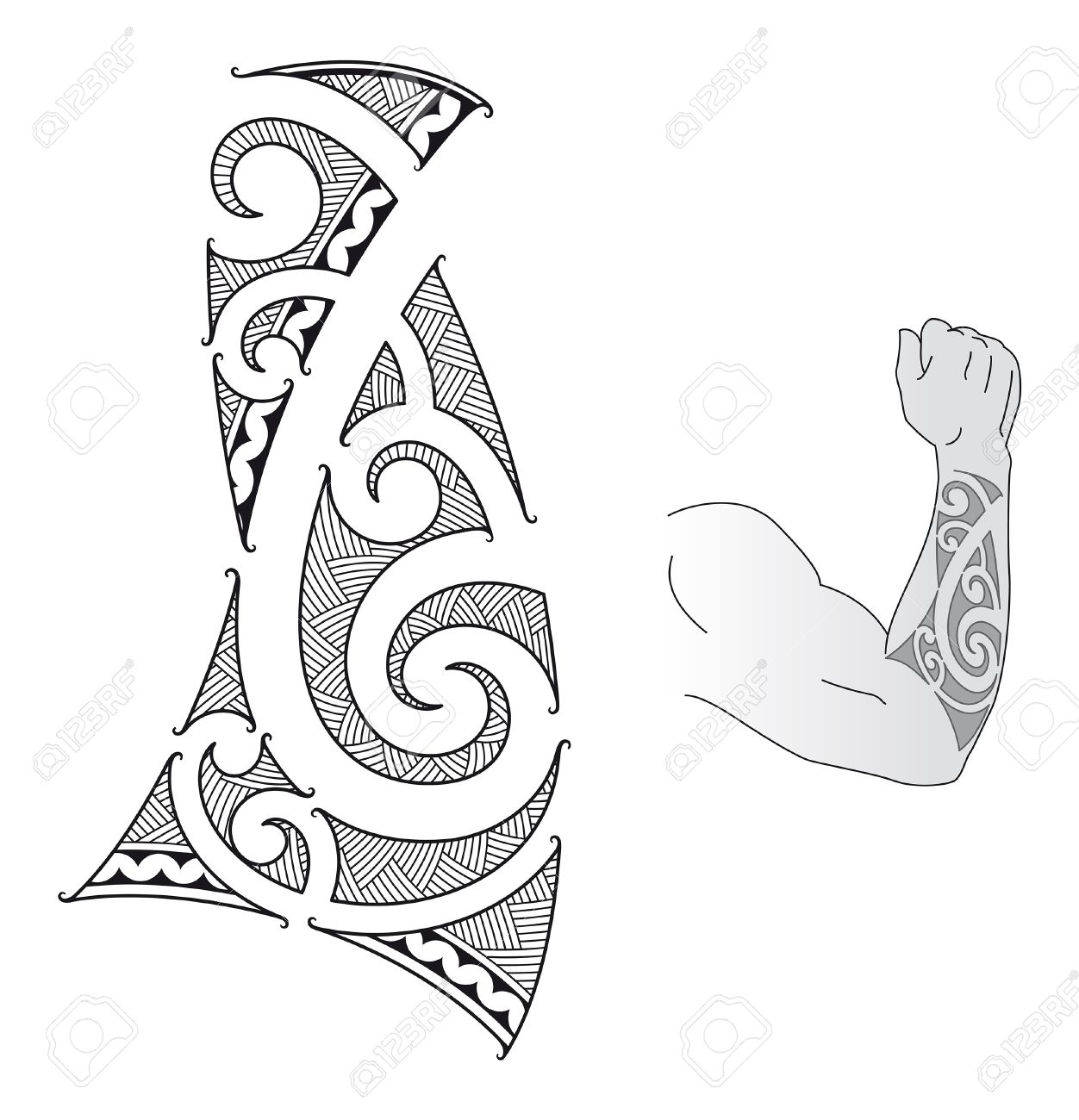 Maori Style Tattoo Design Fit For A Forearm Royalty Free Cliparts