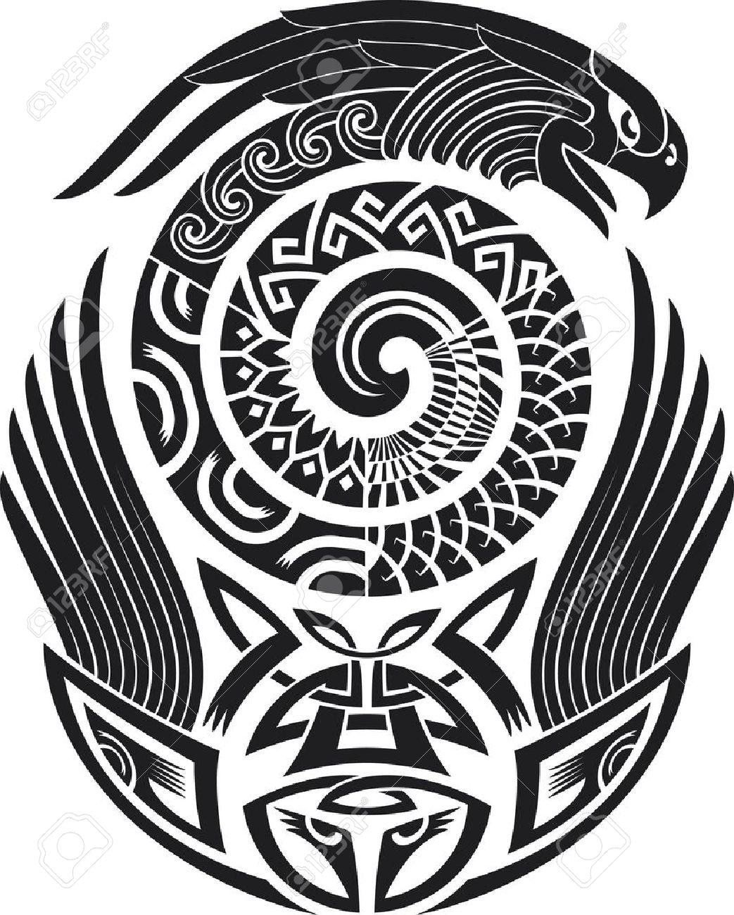 Patrón De Tatuaje Tribal Digno De Un Hombro Ilustración Del Vector