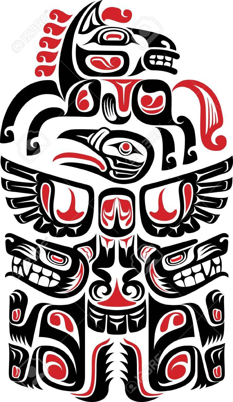Haida style tattoo design created with animal images Stock Vector - 17804987