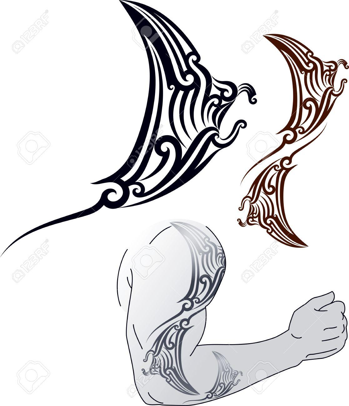 Maori Motif De Tatouage De Style En Forme De Profil Manta Ray Fit
