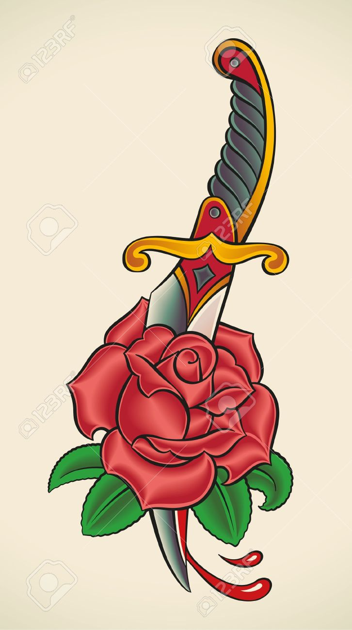Old-school styled tattoo of a dagger through rose Stock Vector - 21963721