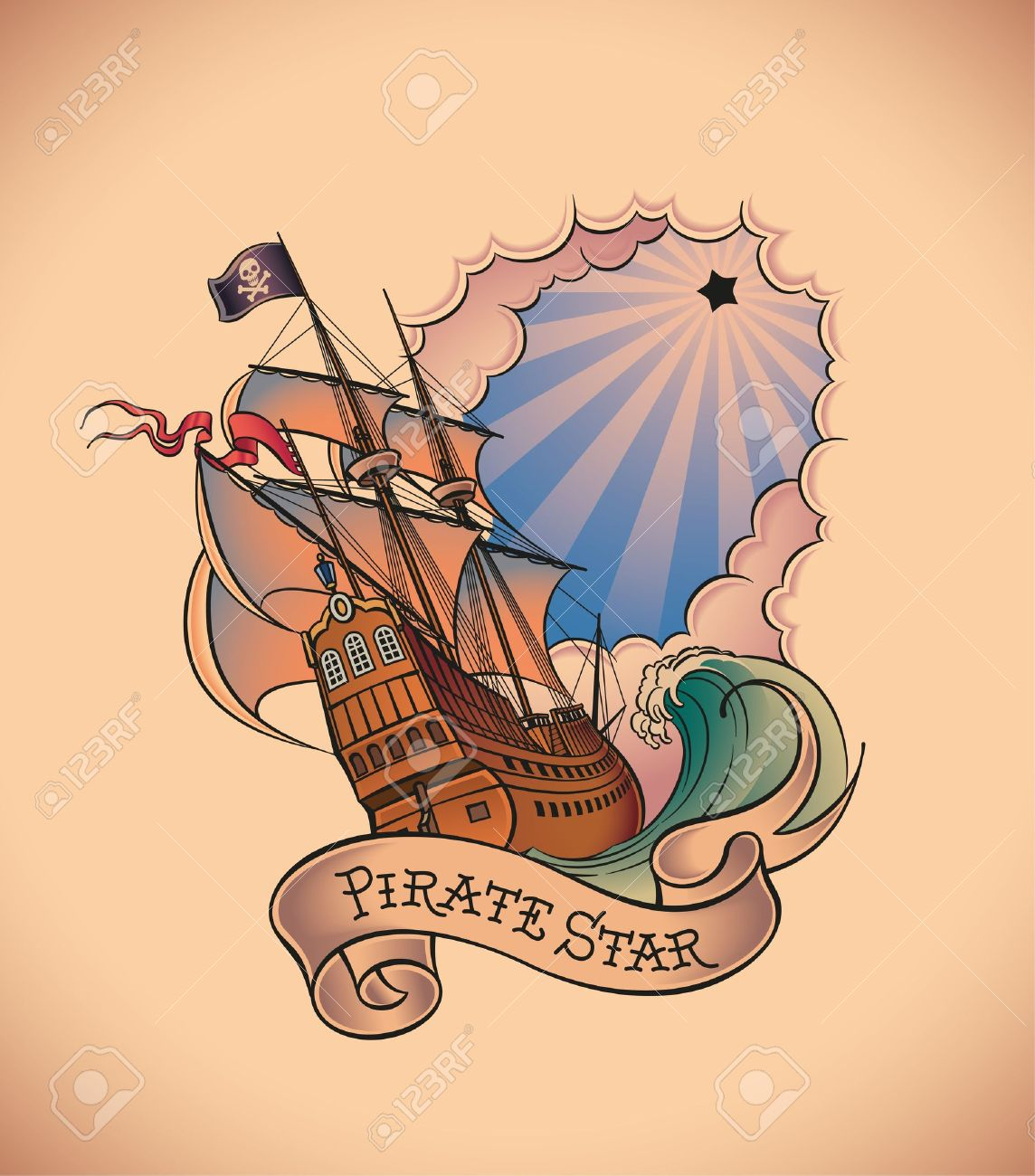 Old School Styled Tattoo Of A Pirate Ship On The Background Of Royalty Free Cliparts Vectors And Stock Illustration Image 21963732