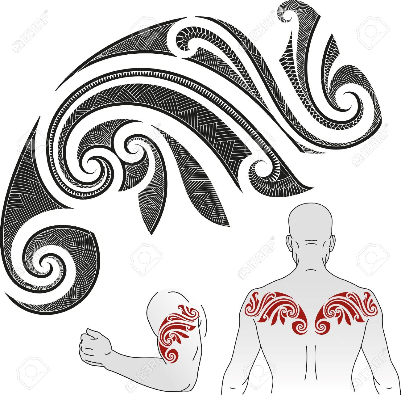 Tribal-Tattoos 21963739-Maori-styled-tattoo-pattern-in-a-shape-of-chameleon-Good-for-a-shoulder-or-an-upper-back-Stock-Vector