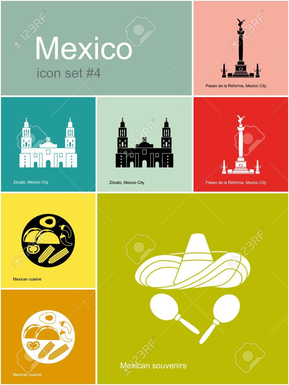 49b8ce4fb024 Banque d images - Monuments du Mexique. Ensemble d icônes de couleur dans  le style Metro. Modifiable illustration vectorielle.
