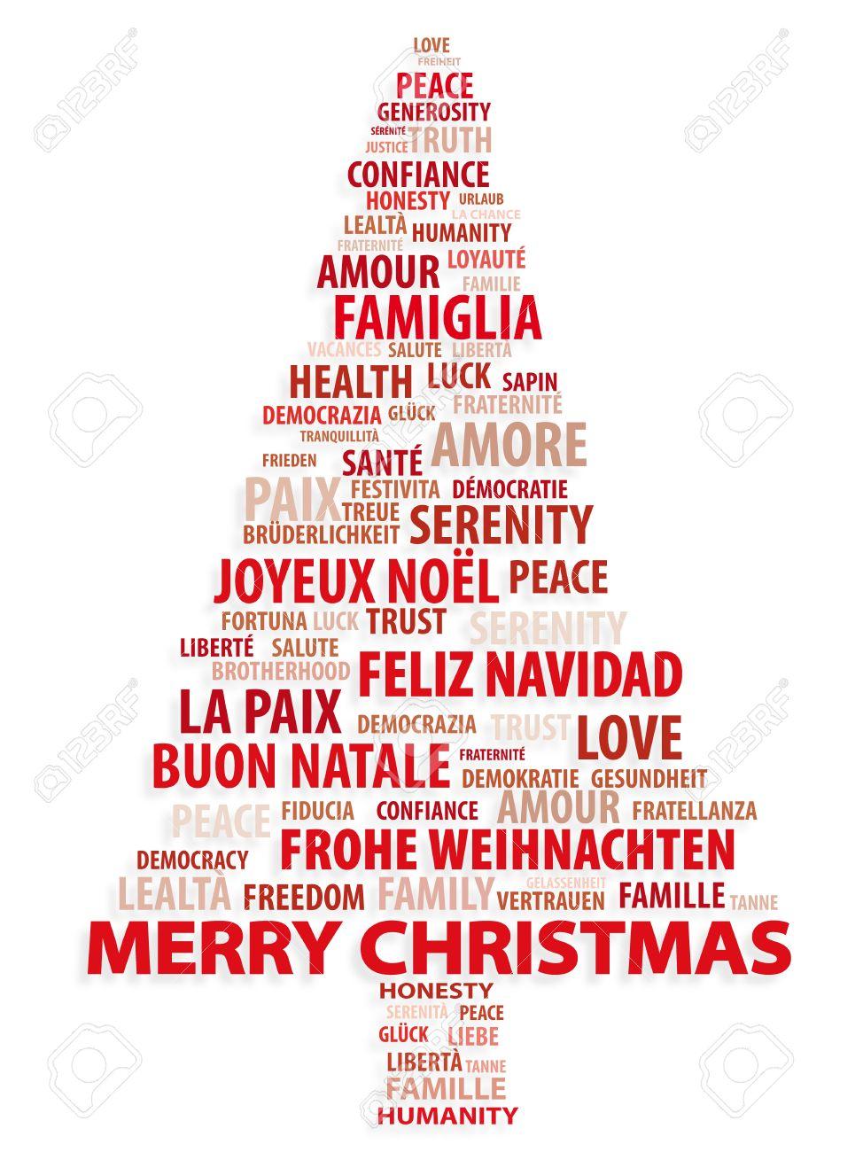 Arbre De Mots Carte De Noël Dans Différentes Langues Banque D