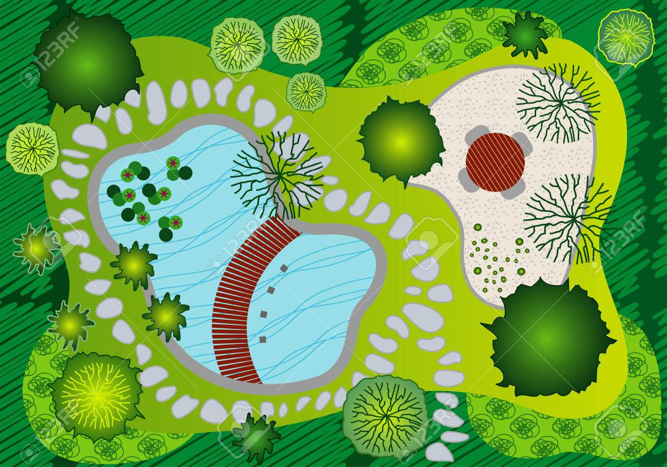 Landscape And Garden Design Plan Royalty Free Cliparts Vectors