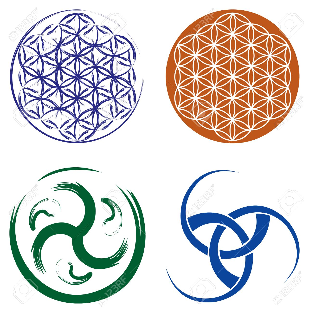 Set Of Celtic Symbols Triskel Celtic Knot And Flower Of Life