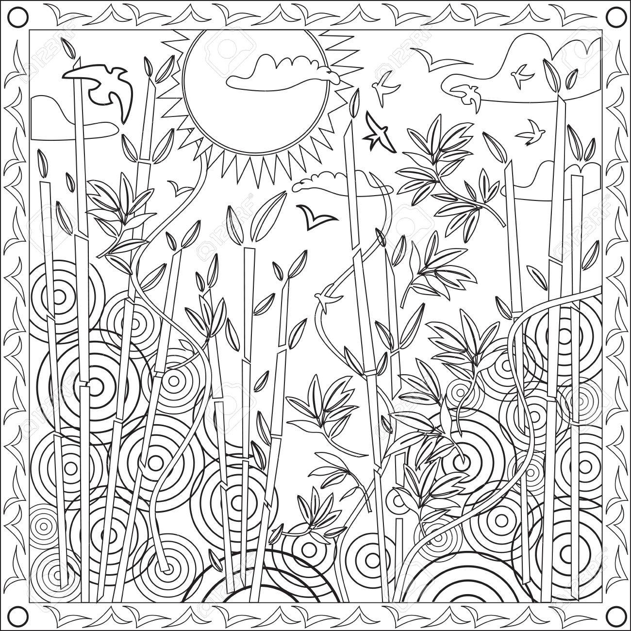 Coloring Pages Bamboo Coloring Pages page coloring book for adults square format japanese bamboo design vector illustration sunset stock vector