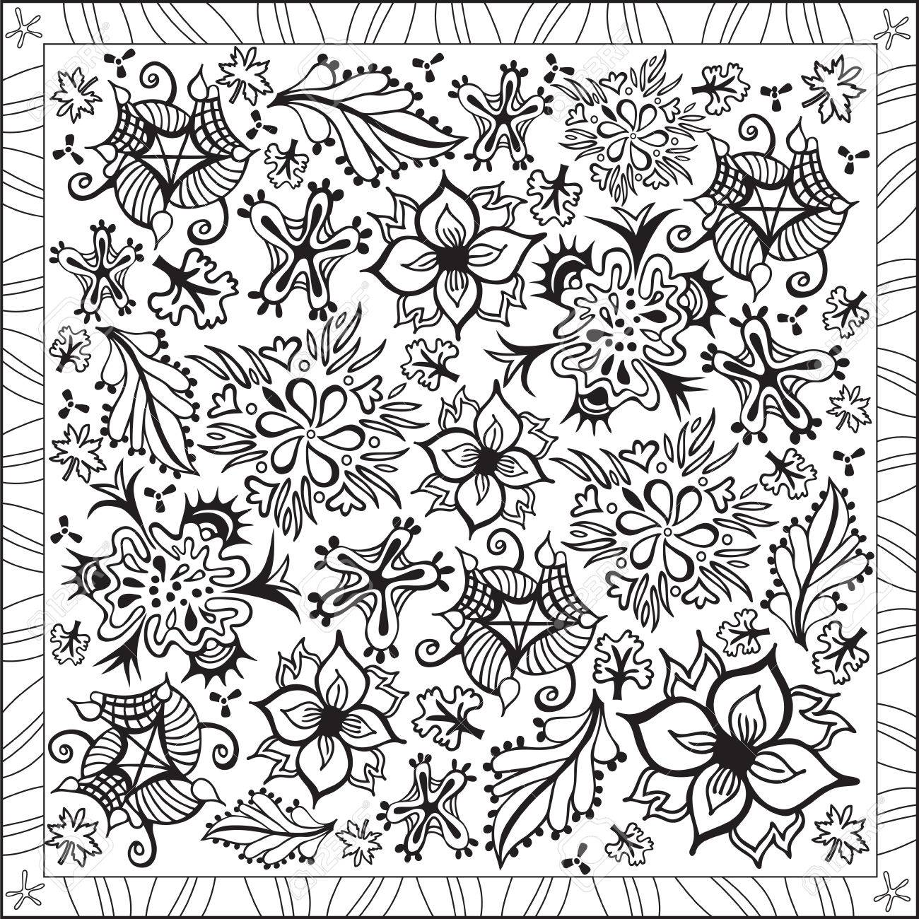 Page Coloring Book For Adults Square Format Flowers Pattern Design Illustration Stock Vector