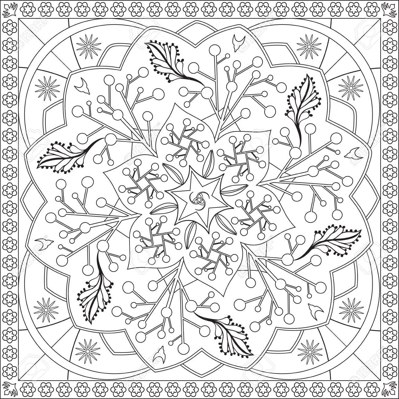 Page Coloring Book For Adults Square Format Foliage Flower Mandala Design Illustration Stock Vector
