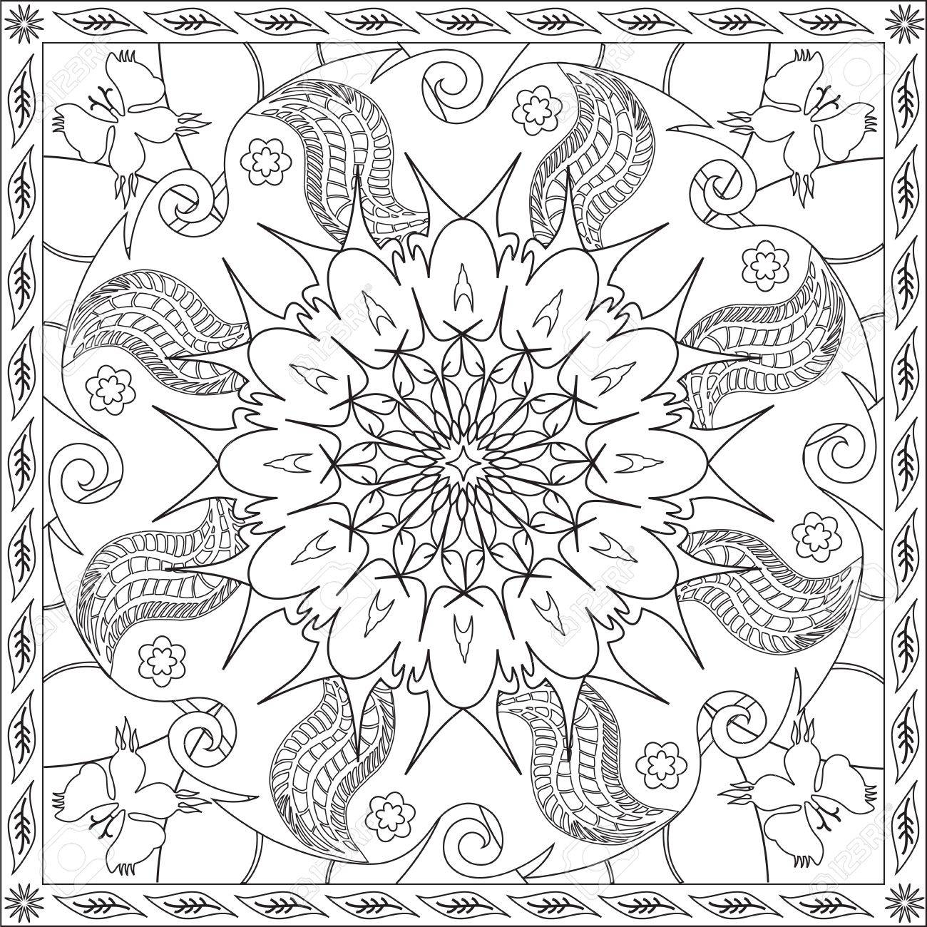 Page Coloring Book For Adults Square Format Flower Mandala Design Illustration Stock Vector
