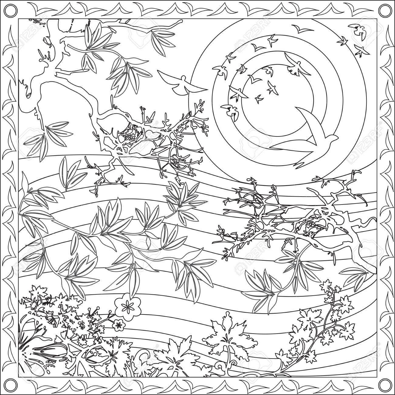 太陽大人スクエア フォーマット竹の塗り絵ページ鳥のイラストをデザイン
