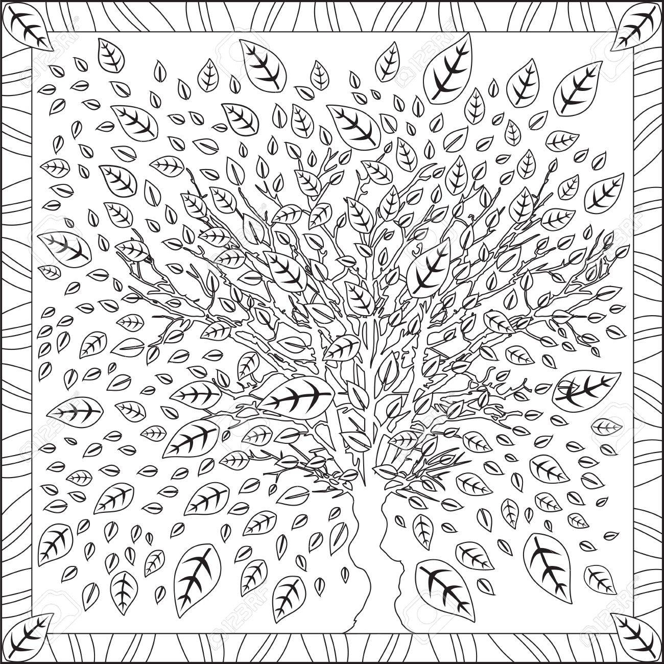 Coloring Page Book For Adults Square Format Cherry Blossom Flower ...