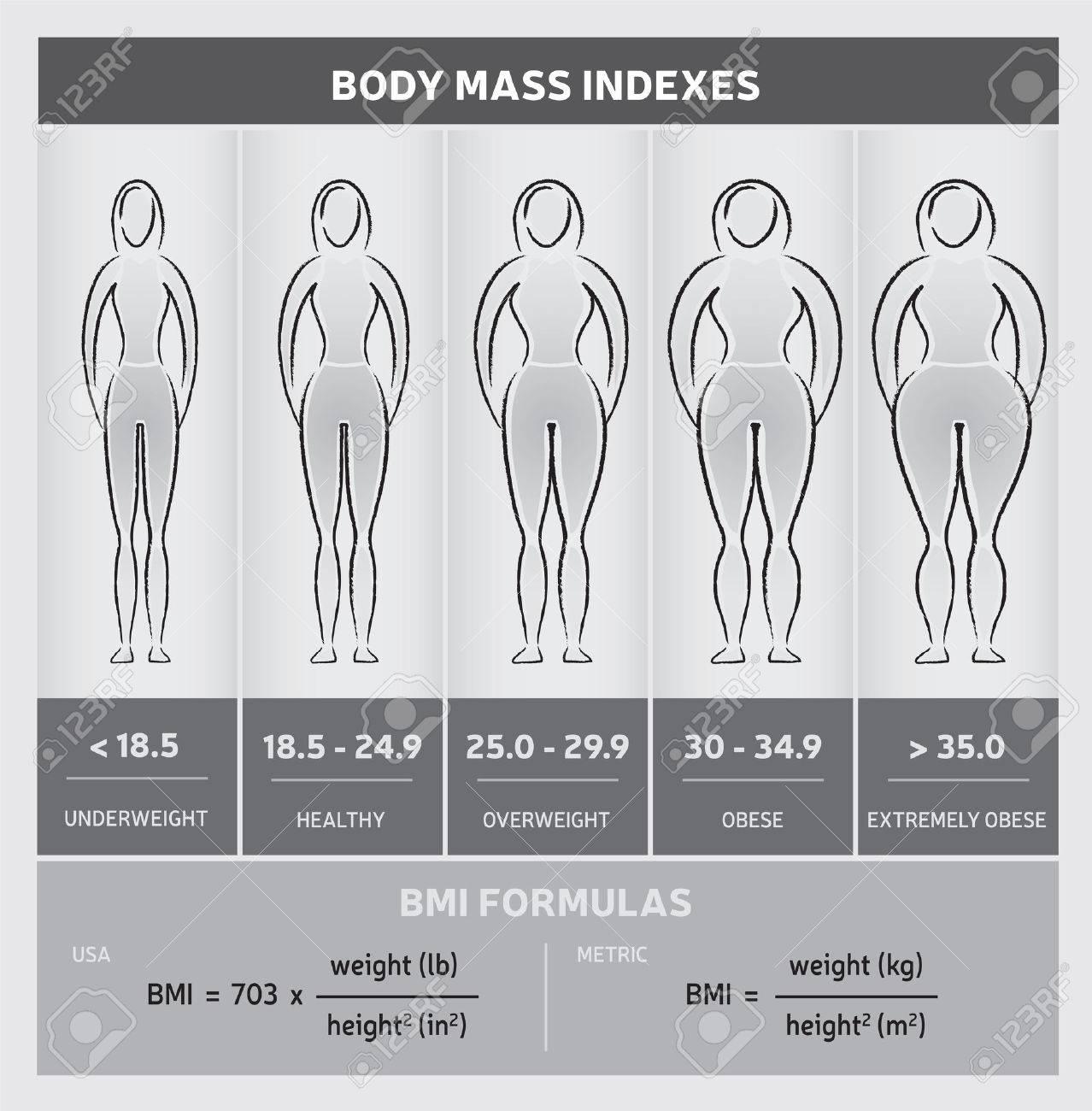 Body Mass Index Körperbild Grafische Chart mit Silhouetten, fünf Klassen  und Formeln   Schwarz und Weiß