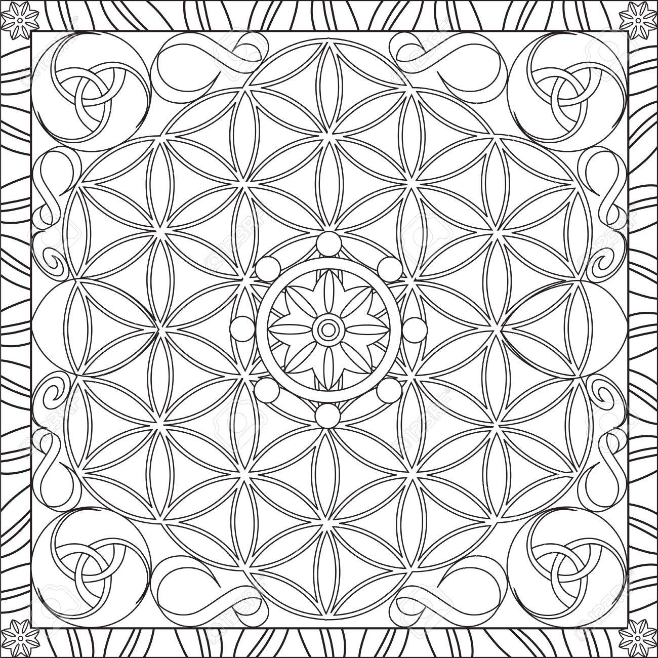 Page Coloring Book For Adults Square Format Flower Of Life Mandala Design Vector Illustration Stock